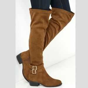 7cff9e2084e Brown suede over the knee boot